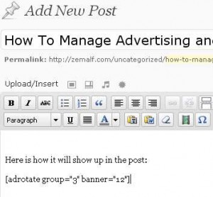 Adding the code tag from Banner Wizard to a Post is simple after the ad and group has been created.