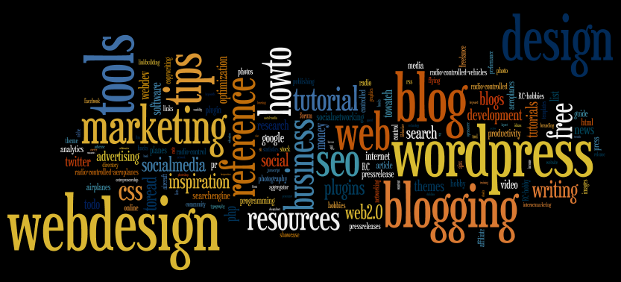 Wordle generates word clouds from Delicious tags too! Just enter your (or some other users) Delicious username to Wordle.