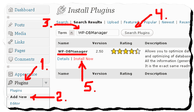 How to install WP-DBManager -plugin for WordPress